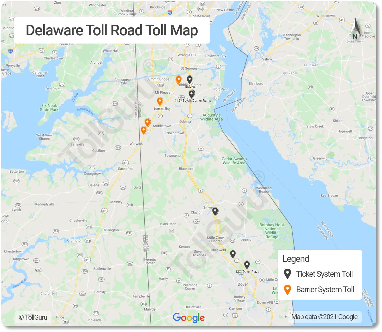 Toll booth locations on the Delaware Toll Roads consisting of Korean War Veterans Memorial and John F Kennedy Memorial Highways.