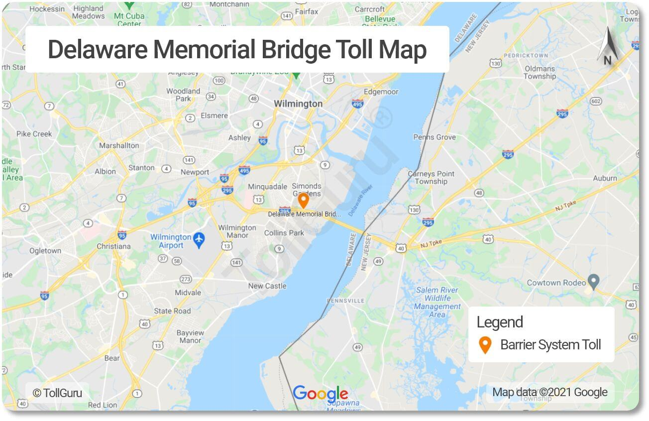 Toll booth locations on the Delaware Memorial Bridge on the Delaware river connecting Delaware Turnpike and NJ Turnpike.