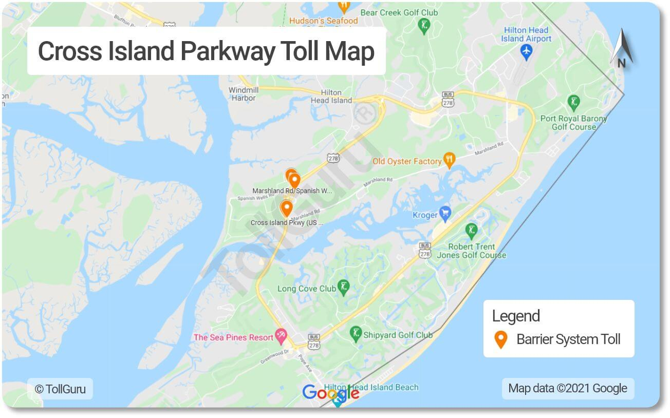 Toll booth locations on Cross Island Parkway- a toll road on Hilton Head Island joining US-278 Business road.
