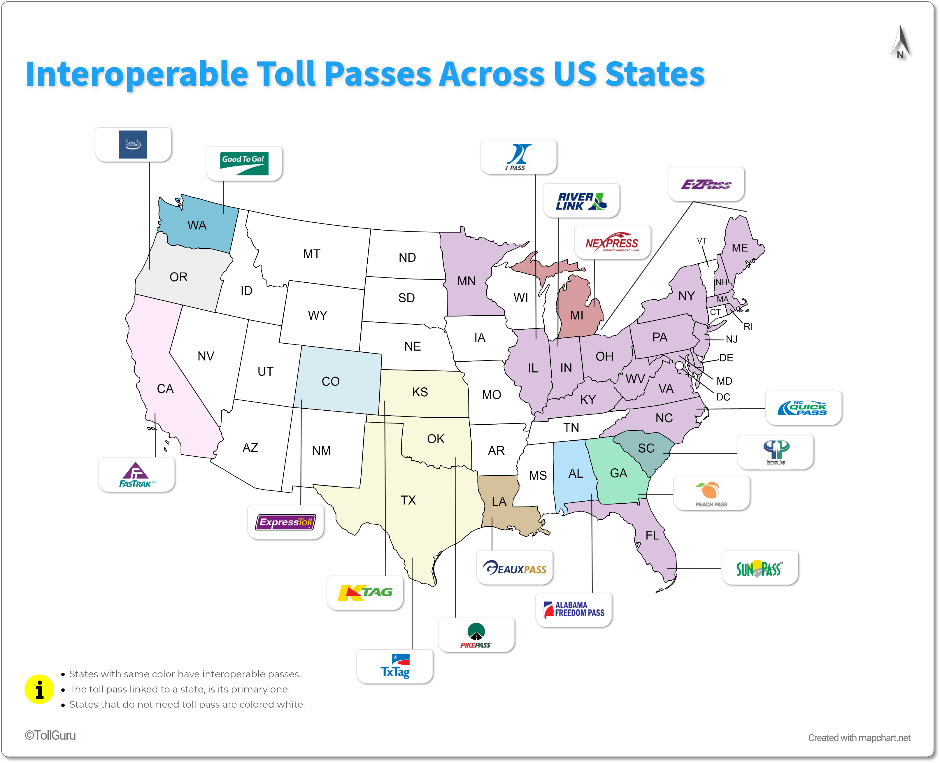 US toll tags accepted across the states.