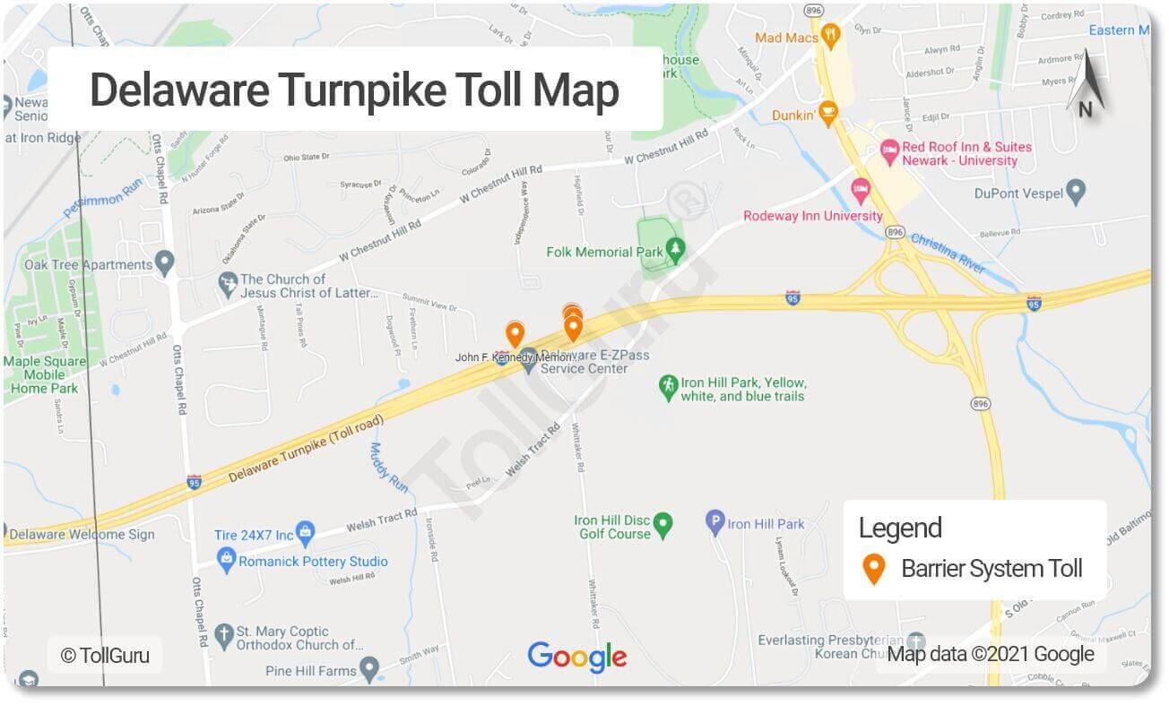 Toll booth locations on the Delaware Turnpike that feeds into the Delaware Memorial Bridge over the Delaware river.